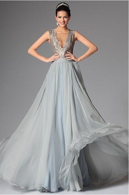 šedé šaty-stříbrné šaty-dlouhé šaty-šaty naples-maturitní šaty-plesové šaty